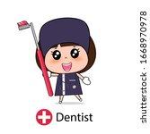 dentist  cartoon character...   Shutterstock .eps vector #1668970978
