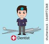 dentist  cartoon character...   Shutterstock .eps vector #1668971368