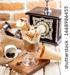 ice cream cone shot  appetizer  ... | Shutterstock . vector #1668986455