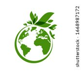ecology world symbol  icon. eco ... | Shutterstock .eps vector #1668987172