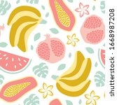 seamless pattern with exotic... | Shutterstock .eps vector #1668987208