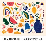cute spring pattern with fruits ... | Shutterstock .eps vector #1668990475