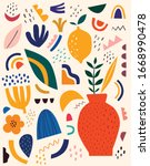 cute spring pattern with fruits ... | Shutterstock .eps vector #1668990478