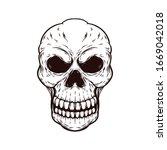 skull head hand drawn vector... | Shutterstock .eps vector #1669042018
