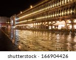 Beautiful night view of famous San Marco square in Venice, Italy - stock photo