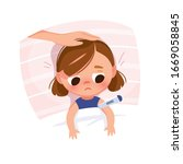 sick child in the bed. baby... | Shutterstock .eps vector #1669058845