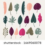set of abstract tropical leaves.... | Shutterstock .eps vector #1669060078