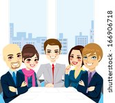 five businesspeople at office... | Shutterstock .eps vector #166906718
