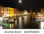 Famous Grand Canal at night, Venice, Italy - stock photo