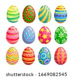 Easter Egg Isolated Icons Of...