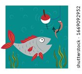 fishing. fish caught on a... | Shutterstock .eps vector #1669092952