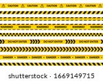 caution tape set  yellow... | Shutterstock .eps vector #1669149715