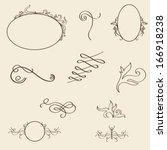 vector set  calligraphic design ... | Shutterstock .eps vector #166918238