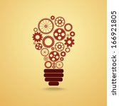 light bulb with gears and cogs... | Shutterstock .eps vector #166921805