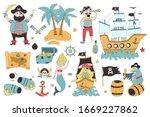 Pirate Set With Sail Ship  Palm ...