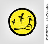 graffiti emoticon. smiling face ... | Shutterstock .eps vector #1669232338