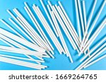 A Lot Of White Paper Tubes Are...