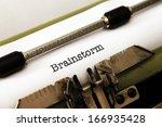 brainstorm text on typewriter   Shutterstock . vector #166935428