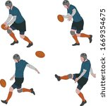 rugby player kicking ball in... | Shutterstock .eps vector #1669354675
