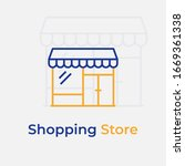 shopping store line color icon. ...