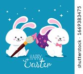 happy easter card with bunny...   Shutterstock .eps vector #1669383475
