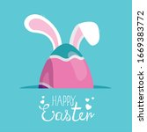 happy easter card and egg with... | Shutterstock .eps vector #1669383772