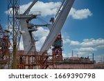 Close up shot of a crane at a...