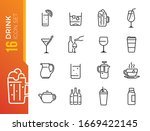 drink and alcohol line icons... | Shutterstock .eps vector #1669422145