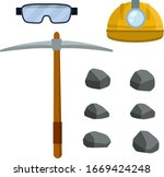 set of objects of miner.... | Shutterstock .eps vector #1669424248