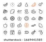 fruit icon set  vector lines ... | Shutterstock .eps vector #1669441585