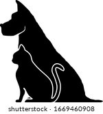 cat dog pets silhouette vector | Shutterstock .eps vector #1669460908
