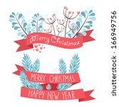 elegant christmas greeting... | Shutterstock .eps vector #166949756