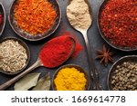 Various Spices In Bowls And...