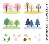 vector set of four seasons tree  | Shutterstock .eps vector #1669665145