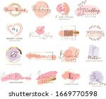 set of hand drawn watercolor... | Shutterstock .eps vector #1669770598