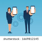 man and woman holding out hand... | Shutterstock .eps vector #1669812145