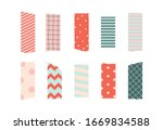 set of colorful patterned washi ... | Shutterstock .eps vector #1669834588