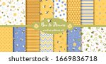 bee seamless pattern collection.... | Shutterstock .eps vector #1669836718