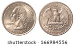 one us quarter coin isolated on ... | Shutterstock . vector #166984556