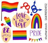 set of lgbt symbols rainbow ... | Shutterstock . vector #1669850452
