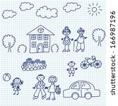 happy family drawing on paper... | Shutterstock .eps vector #166987196