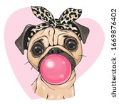 cute cartoon pug dog girl with... | Shutterstock .eps vector #1669876402