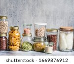 Glass Jars With Various Cereals ...