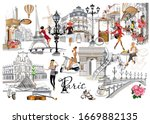 set of paris illustrations with ... | Shutterstock .eps vector #1669882135
