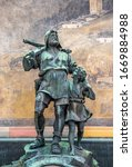 Small photo of Statue of William Tell and his son in the city of Altdorf, Switzerland