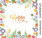 frame with flowers and...   Shutterstock .eps vector #1669888165