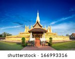 laos travel landmark  golden... | Shutterstock . vector #166993316