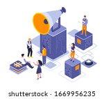 referral marketing isometric...