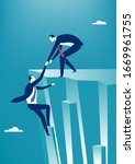 businessman helps the other... | Shutterstock .eps vector #1669961755