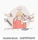 business woman surrounded by... | Shutterstock .eps vector #1669993645